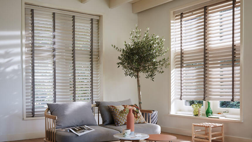 Luxaflex Cherry and Teak wooden blinds