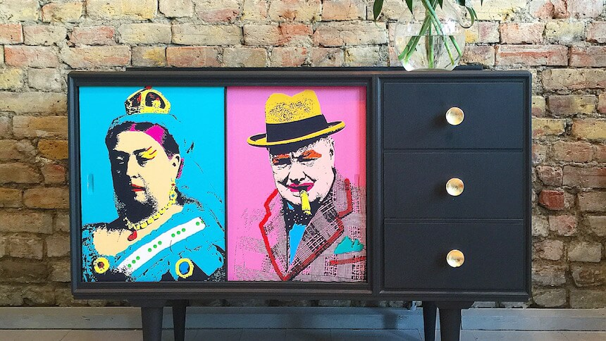 Upcycled cabinet by Anouska Lancaster