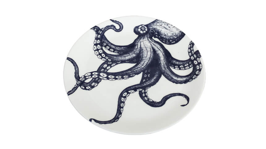 Octopus hand decorated plate from Cream Cornwall