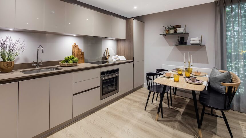 Kitchen and dining area at Prime Place, Sevenoaks