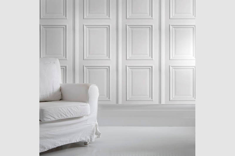 White panelling wallpaper, House Junkie