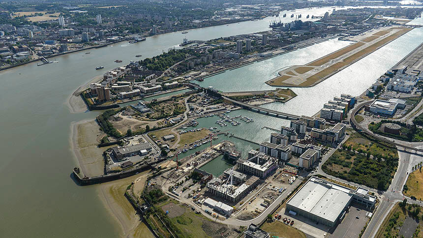 Royal Albert Wharf from the air