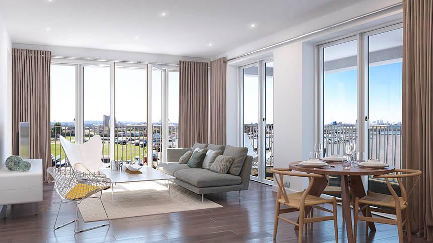 Premium living room at Royal Albert Wharf