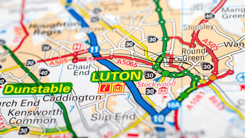 Map of Luton