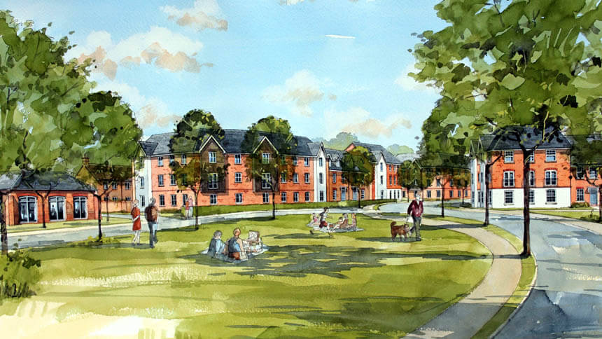 Artist's impression of new homes at Ebbsfleet