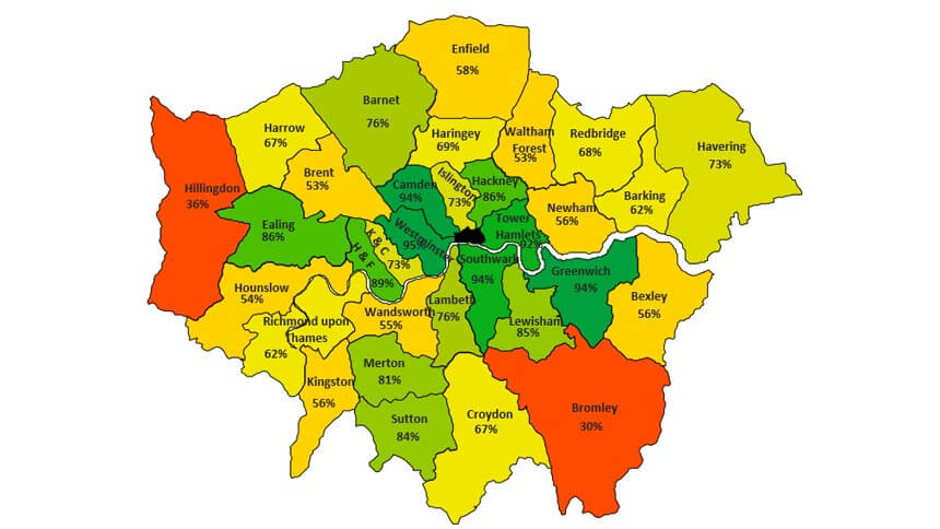 % of potential homes approved by borough in 2015