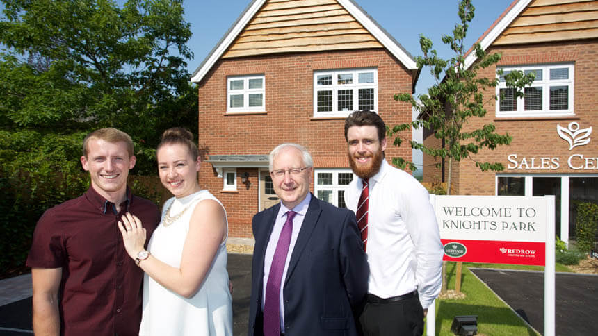 Young buyers at their new Redrow home