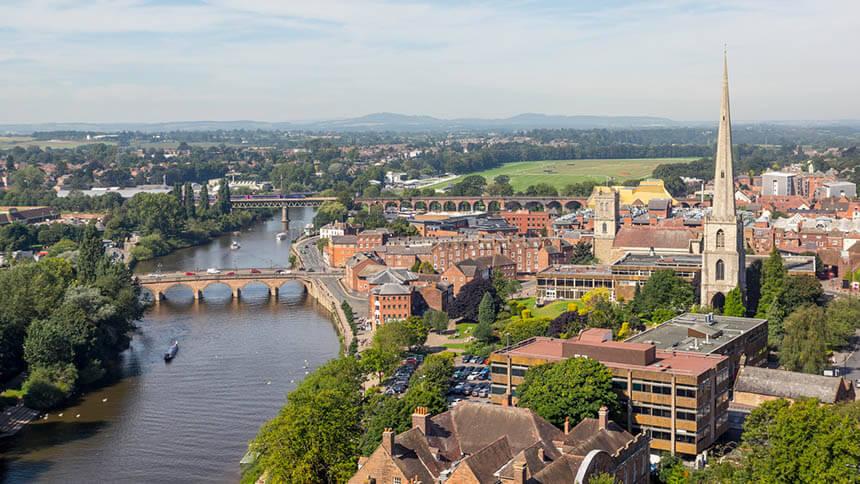 Bird's-eye view of Worcester