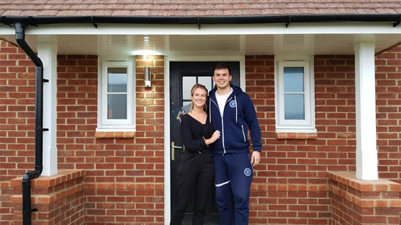 Jessica and Lewis at home at Walton Park