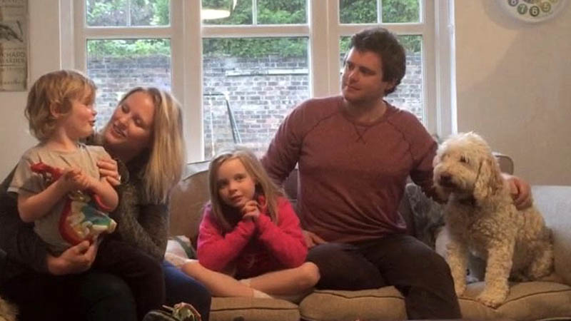 Rebecca, Martin and kids in their new Redrow home