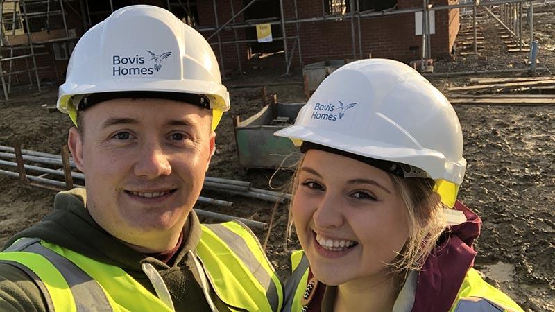 Matt and Charlotte on site at Twigworth Green