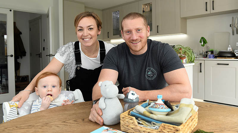 Sally, James and Archie at home at Hayfield Green