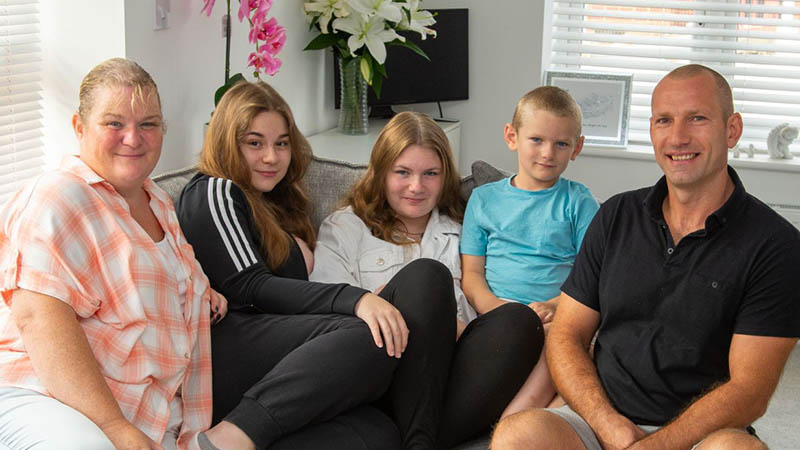 The Scott family at home at Crown Fields