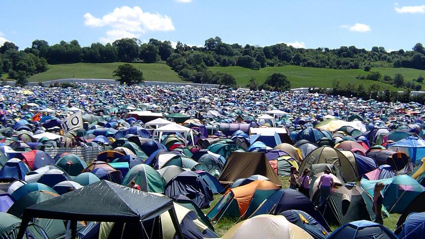 Campers at Glastonbury