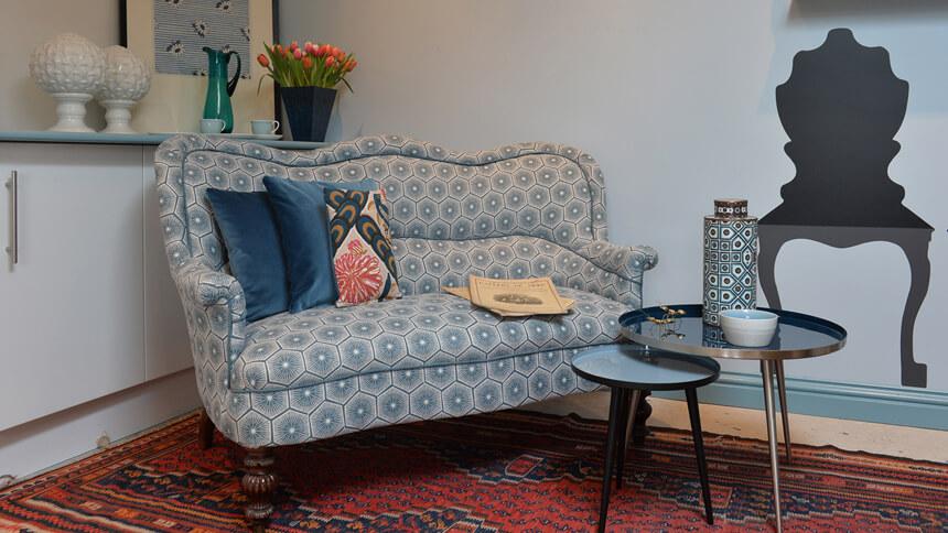 Restored and reupholstered sofa (Natalia Wilmott)