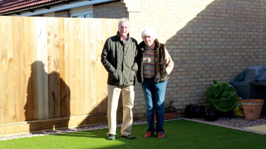 Mr and Mrs Austin in their garden