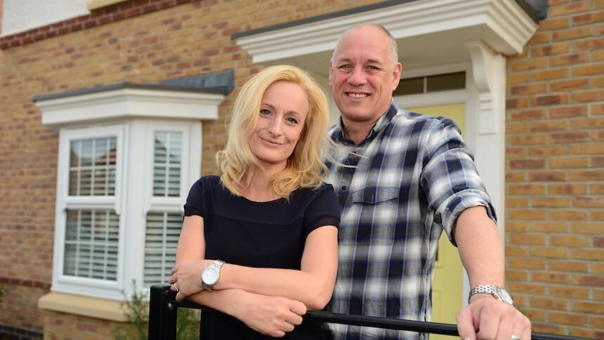 Andy and Emma Bentley outside their new home