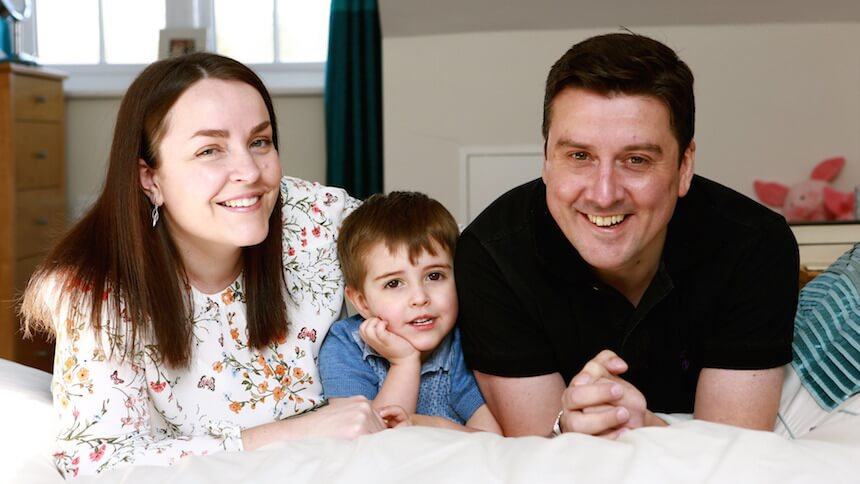 The Lawrence family in their new home