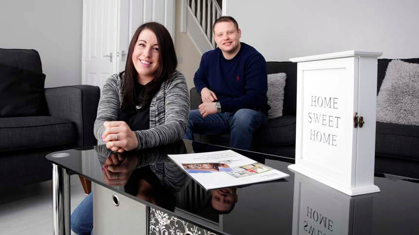 Jamie and Casey in their new Taylor Wimpey home