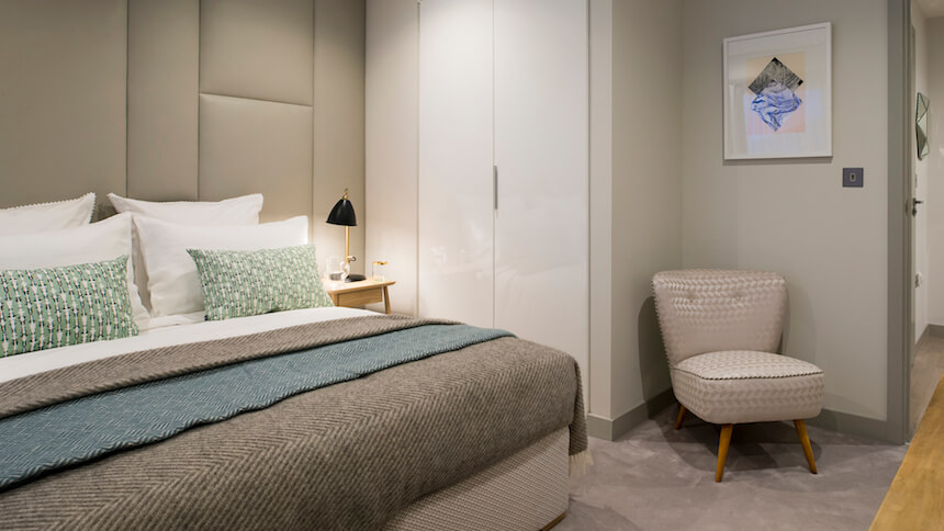 A bedroom in Jigsaw's show home