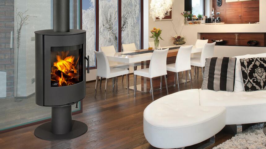 Sleek, contemporary Lawley woodburning stove