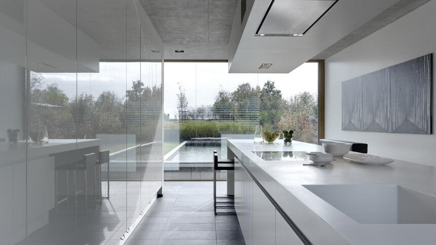 Linear minimalist galley kitchen