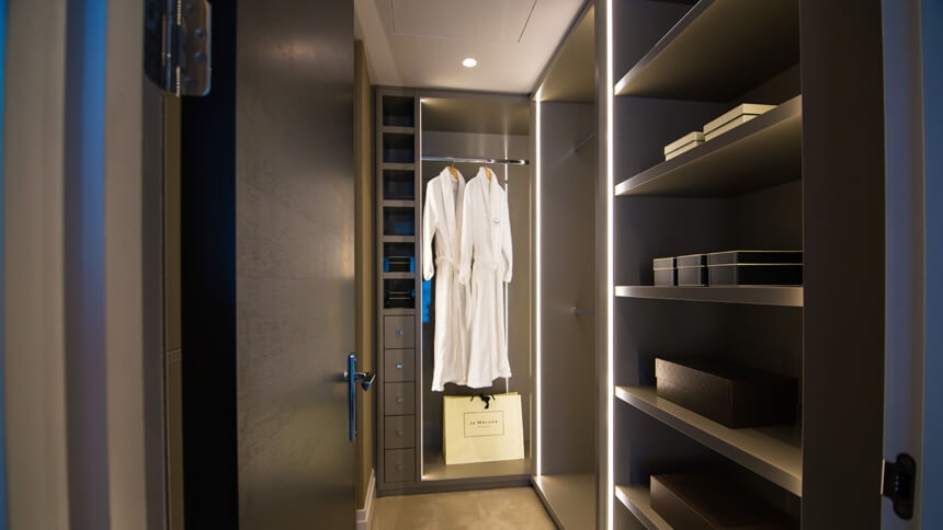 Walk-in wardrobe at Miram House