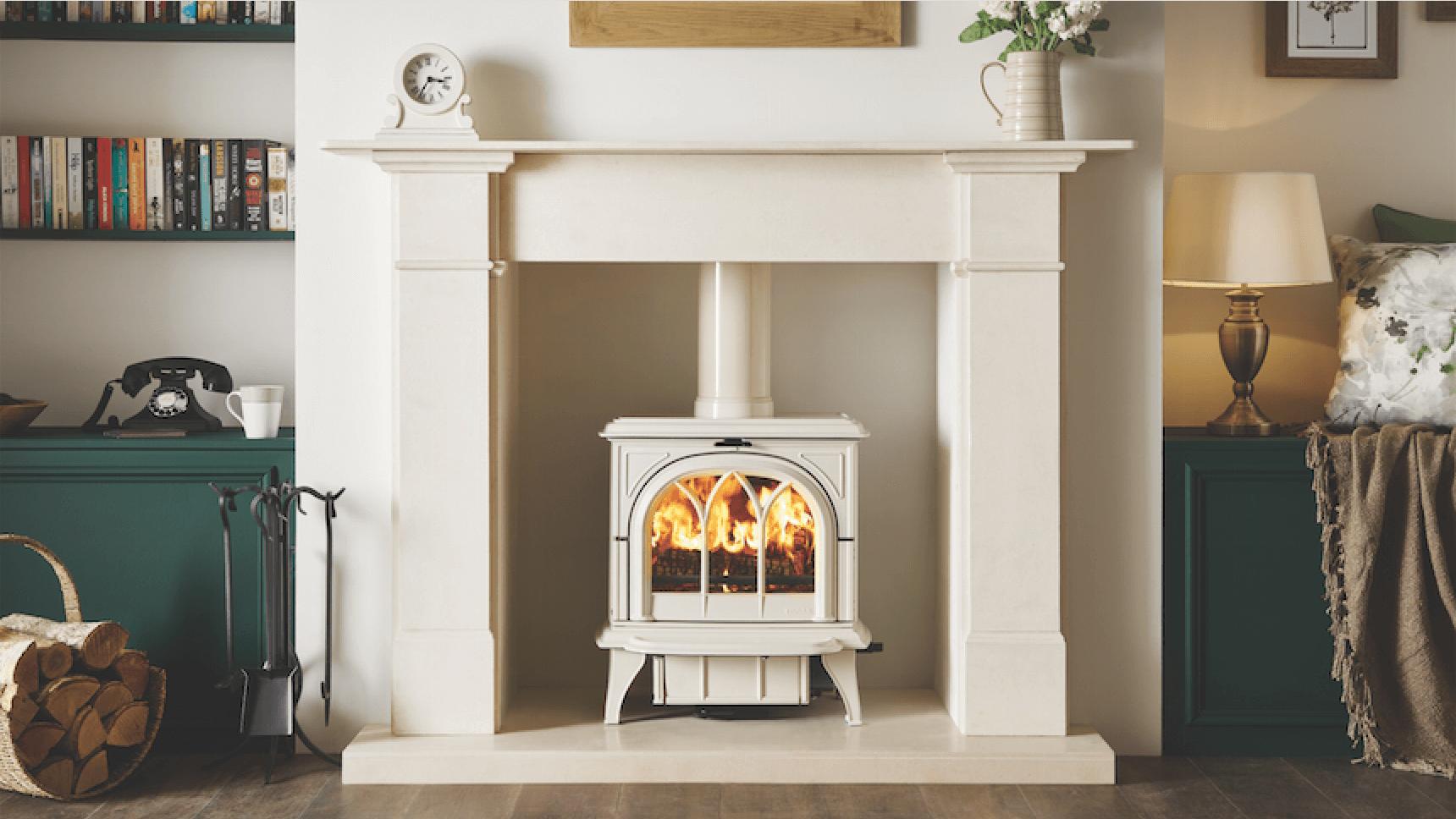 Huntingdon 30 wood burning stove in ivory enamel