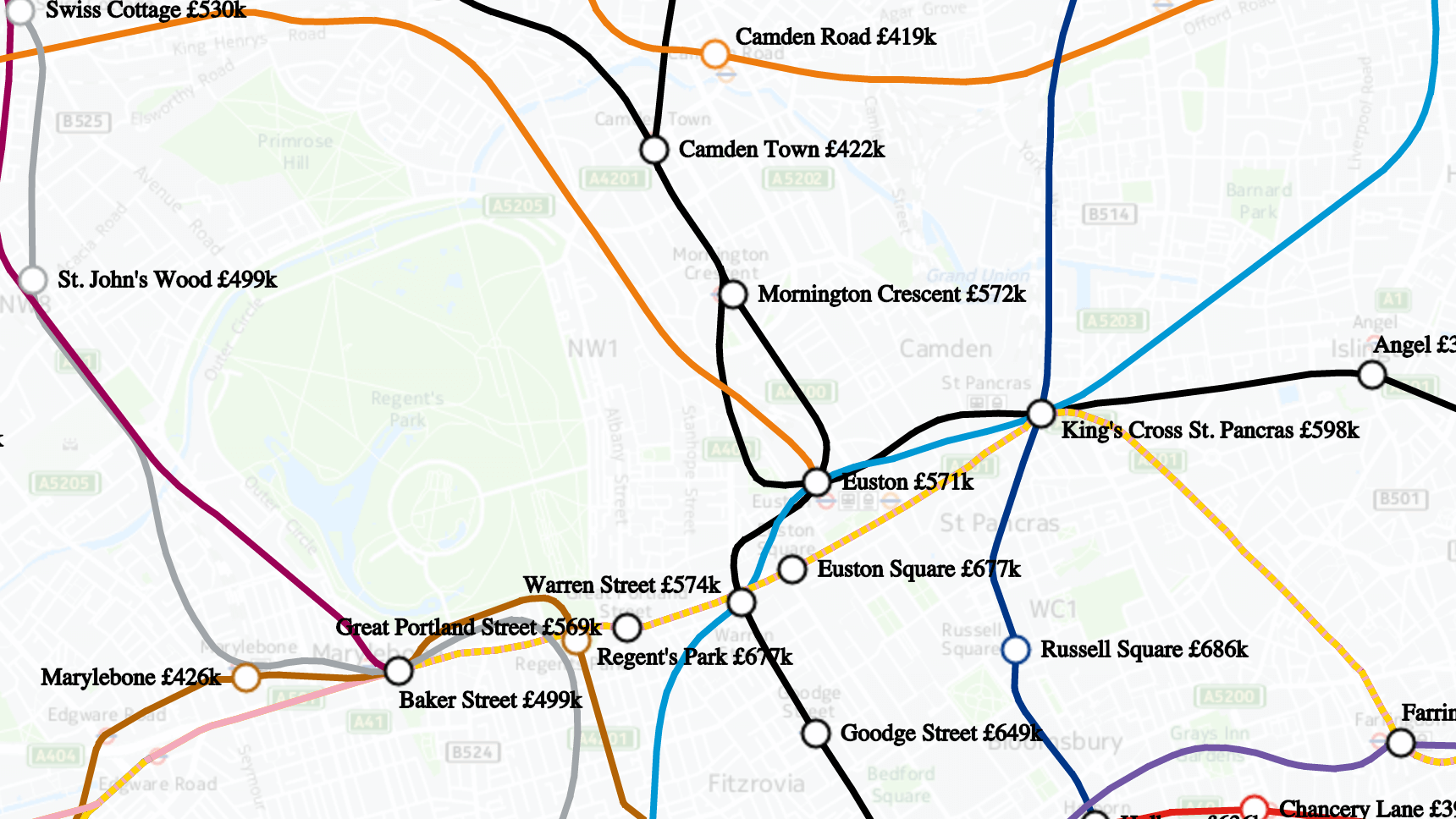 Interactive property Tube map of London