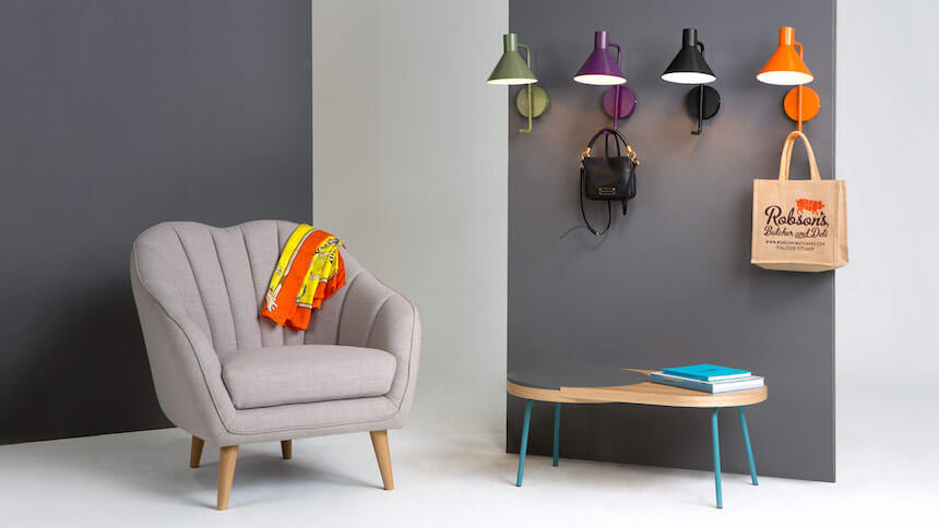 Candy coloured Truman wall lights from Made