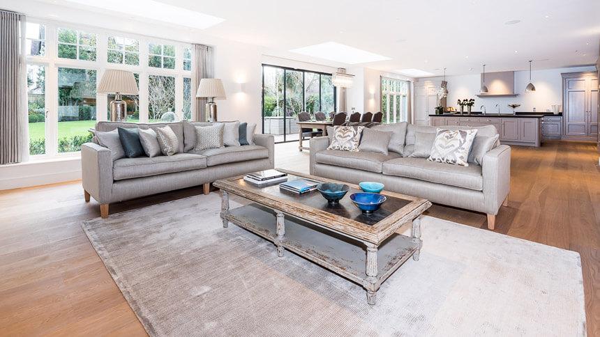 Walpole House open-plan living area