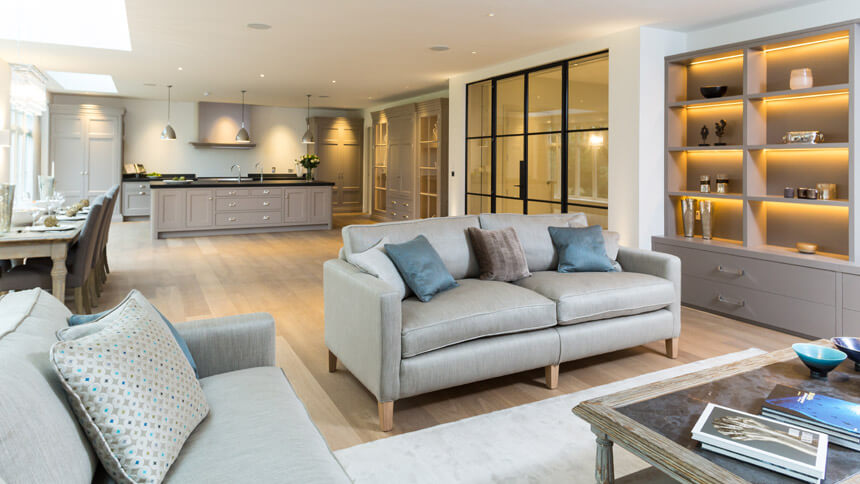 Walpole House open-plan living room and kitchen