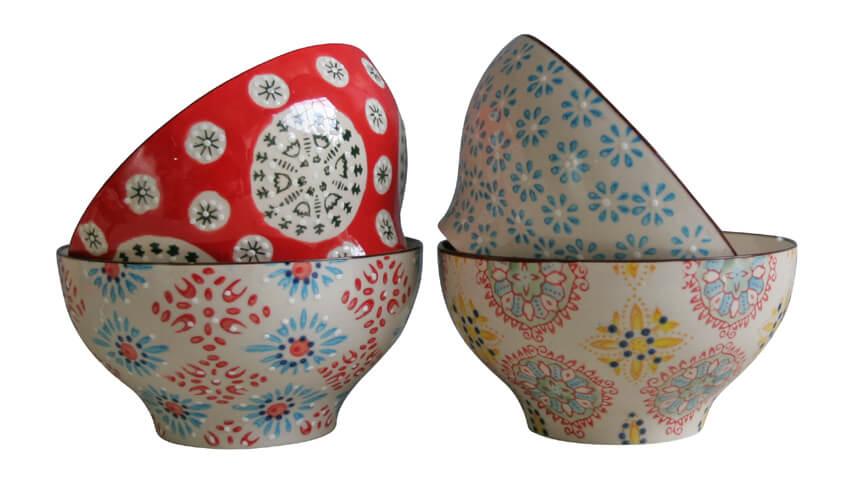 Four Bohemian large bowls