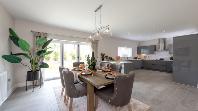 The kitchen/ dining area of The Kirdford show home
