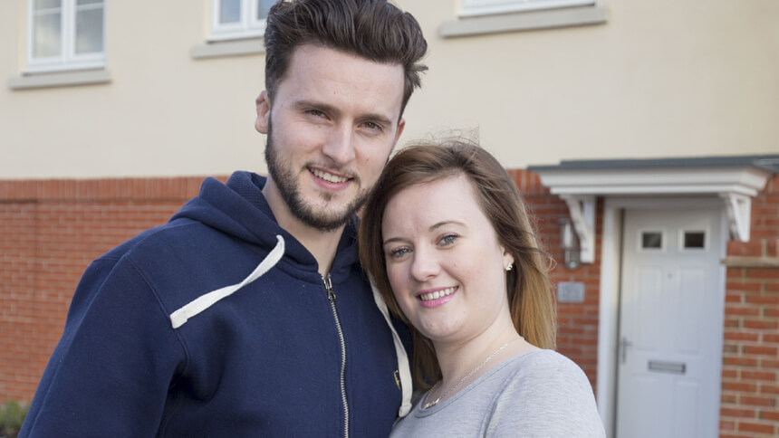 Daniel and Kirsten outside their new home