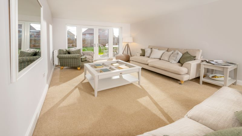 Typical interior images of the lounge and kitchen in Chestnut Homes properties