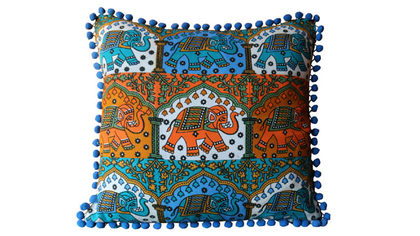 Handmade Boho Indian elephant cushion