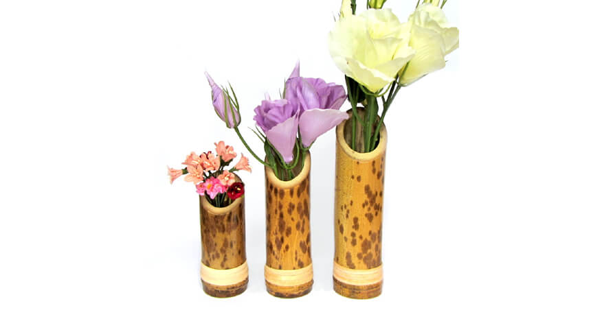 Handcrafted bamboo vases