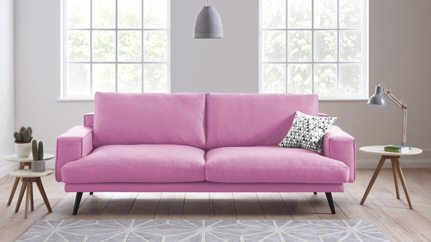 Theo sofa in Carnation pink