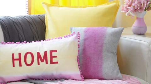 Shades of yellow and pink brighten a room