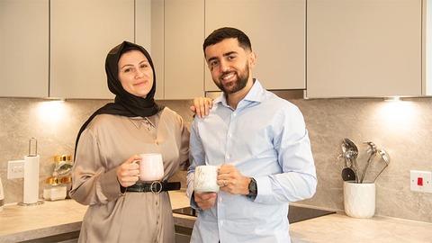 Waseem and Rasha at home at Saxon Reach (L&Q)
