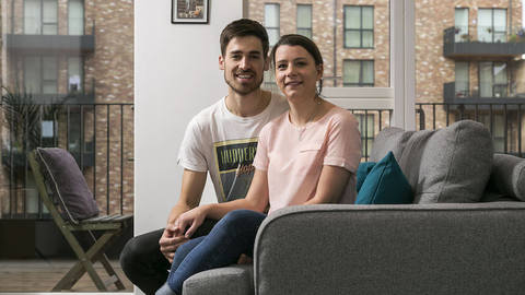 Sean and Laura in their new home