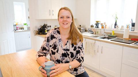 Edie in her new kitchen