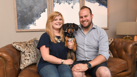 Sarah and Matthew with Lincoln in their new home