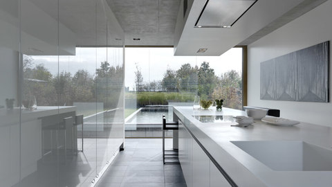 Linear minimalist galley kitchen