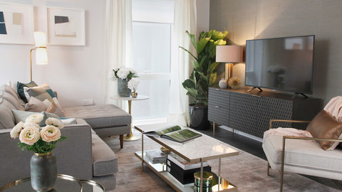 The living and dining area at Merchant Square