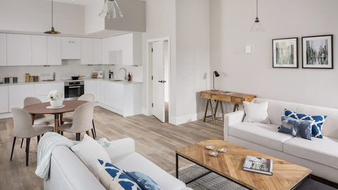 Living area in the show home at Harwal Waterside