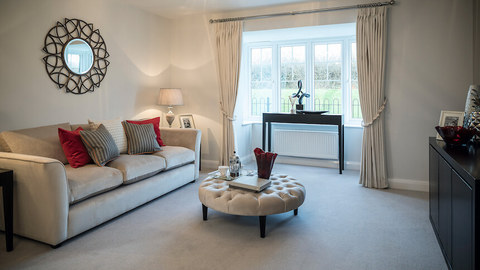 The living room at The Hollies show home