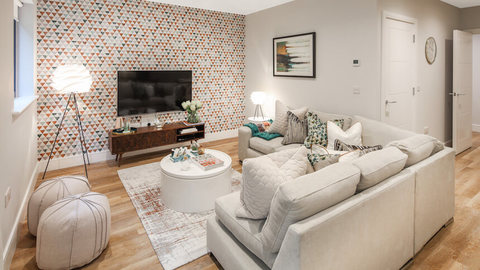 The living room at The Quarry show home