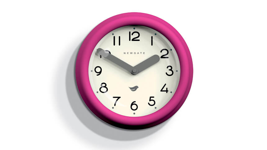 Newgate Pantry clock in hot pink